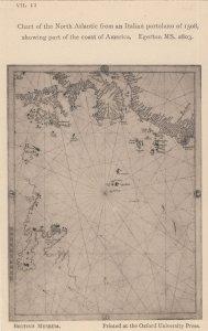North Atlantic America Medieval Map Chart 1508 Antique Postcard