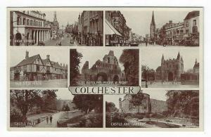 Vintage Postcard Showing Views of Famous Attractions in Colchester, UK
