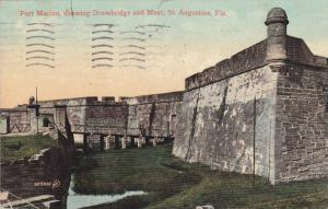 Fort Marion, showing Drawbridge and Moat,  St. Angustine,  Florida,  PU_1909