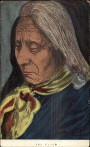 Native American Indian RED CLOUD Close-up c1910 Postcard