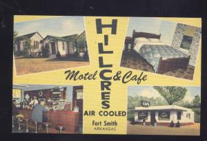 FORT SMITH ARKANSAS HILLCRES MOTEL CAFÉ VINTAGE LINEN ADVERTISING POSTCARD