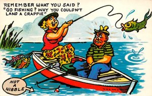 Fishing Post Card Man and Woman in a Boat Comic Unused