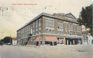 G34/ Wapakoneta Ohio Postcard 1908 Brown Theatre Building Stores