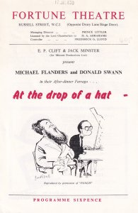 Michael Flanders At The Drop Of A Hat 1950s Comedy Theatre Programme