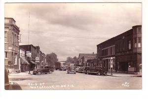 Real Photo, Main Street, Cars, Restaurants, Kato Beer Sign, Waterville, Minne...