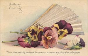 Purple Yellow Lavender Pansies~Ladies Fold Fan~Subdue Thoughts~Deep Emboss~1914