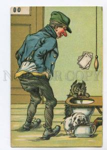 264721 COMIC Scottish Terrier PUG Flush toilet POT Vintage PC