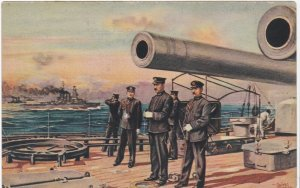 C 1937 Rare Japanese Imperial Navy Battleship Nagato Commander On Deck Postcard