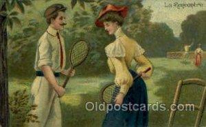 La Rencontre Tennis writing on back close to perfect corners, postal used 1907