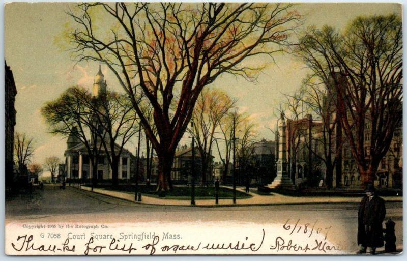 Springfield, Massachusetts Postcard Court Square Street View 1907 Rotograph