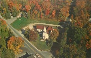 Sister Bay Wisconsin~Zion Lutheran Church~Aerial View~Red Autumn Trees~1964