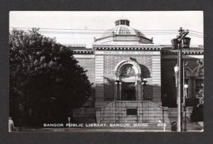 ME Bangor Library MAINE Real Photo RPPC Postcard PC
