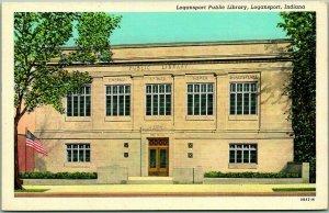 Logansport, Indiana Postcard PUBLIC LIBRARY Building Front View Linen c1940s