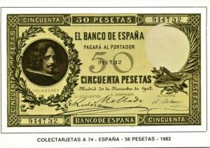 spain, Cincuenta 50 Pesetas 1902, BANKNOTES Modern Money Postcard