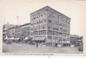 Connecticut Meriden Hall & Lewis Block Corner Coloney & Main Street sk533