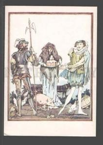 097420 Pink PIG in Magic Castel Old Russian Art Deco Card