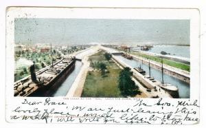 Sault Ste Marie, Michigan to Bradley Beach, New Jersey 1908 Postcard, The Locks