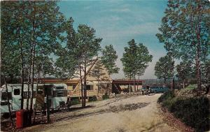 Hot Springs AR Red Trash Cans @ KOA Campground~Big Blue Sedan~Camper 1970s