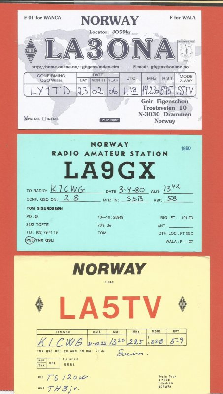QSL AMATEUR RADIO CARDS – NORWAY – 3 DIFFERENT CARDS – 1981-2006 (1)