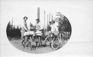 Bicycle touring camping group Photo C-1910 RPPC Photo Postcard frame like 6730