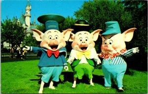 Anaheim CA Disneyland Three Little Pigs Postcard unused (20149)