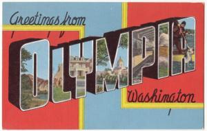 Greetings from OLYMPIA, Washington, unused Postcard