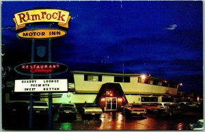 Farmington, New Mexico Postcard RIMROCK MOTOR INN Rainy Night View / 1976 Cancel