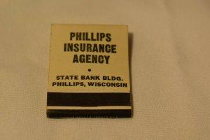 Phillips Insurance Agency Phillips Wisconsin 20 Strike Matchbook