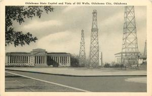Oklahoma State Capitol & Oil Wells, OK City Oklahoma Ok Postcard