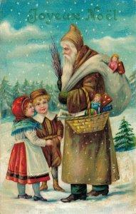 Brown Suit Santa Claus Christmas Postcard 04.02