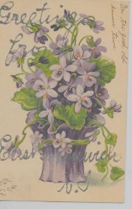 East Greenwich Rhode Island Greetings From flowers glittered antique pc Z44016