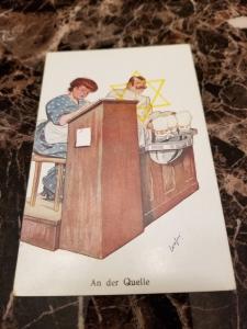 1938 Germany Mint Postcard Eternal Jew Museum Exhibit Beer Bar and Waitress