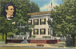 Springfield Illinois~Lincoln's Home~Portrait Inset~1940s Linen Postcard