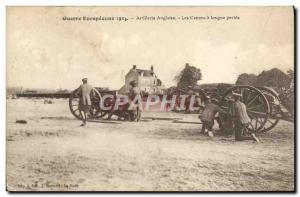 Postcard Old English Army Artillery cannons long range