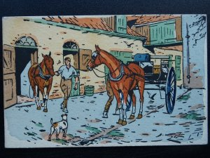 Country Life STABLE PREPARE CART TRAP Old Hand Coloured Postcard by E.W. Savory