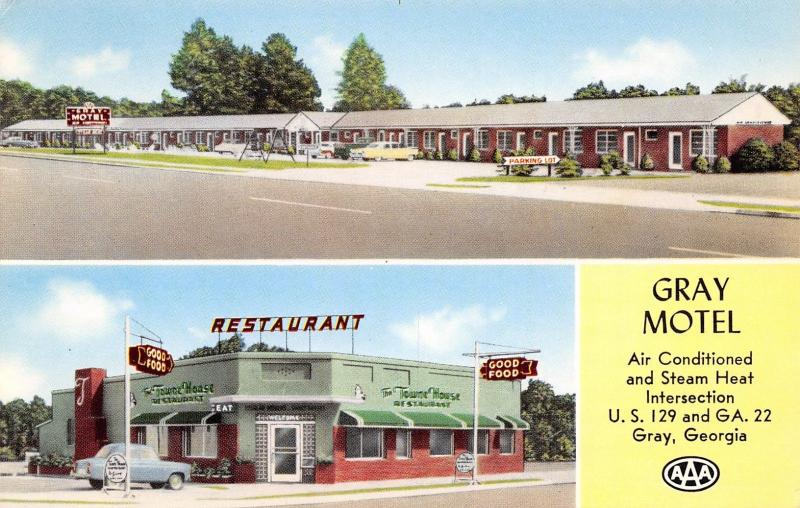 Gray Georgia~Gray Motel~Art Deco Roadside Cafe~Town House Restaurant~1965 PC