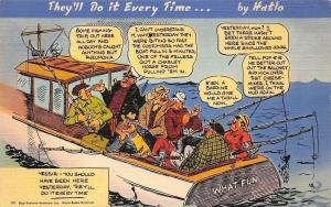 Jimmy Hatolo Linen Comic~Do It Everytime Series #333 Old Fisherman: What Fun PC