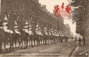 London. Knightbridge Barracks ad Troop of Horse Guards  Tuck Heraldic View PC