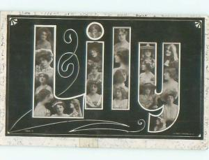 rppc 1905 The Name Lily LILLIAN - IN BIG LETTERS - WITH FACES AC8102