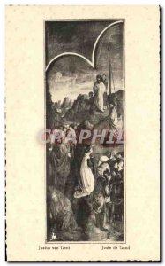 Postcard Old Gent Sint Baaf Ghent Saint Bavo Drieluik Kalvarieberg Triptych F...