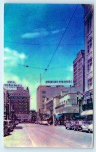 EL PASO, TX Texas ~ Downtown STREET SCENE c1940s Cars El Paso County Postcard