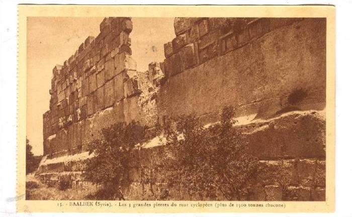 BAALBEK (Syrie), now Lebanon, 1910-30s ;  Les 3 grandes pierres du mur cyclopeen