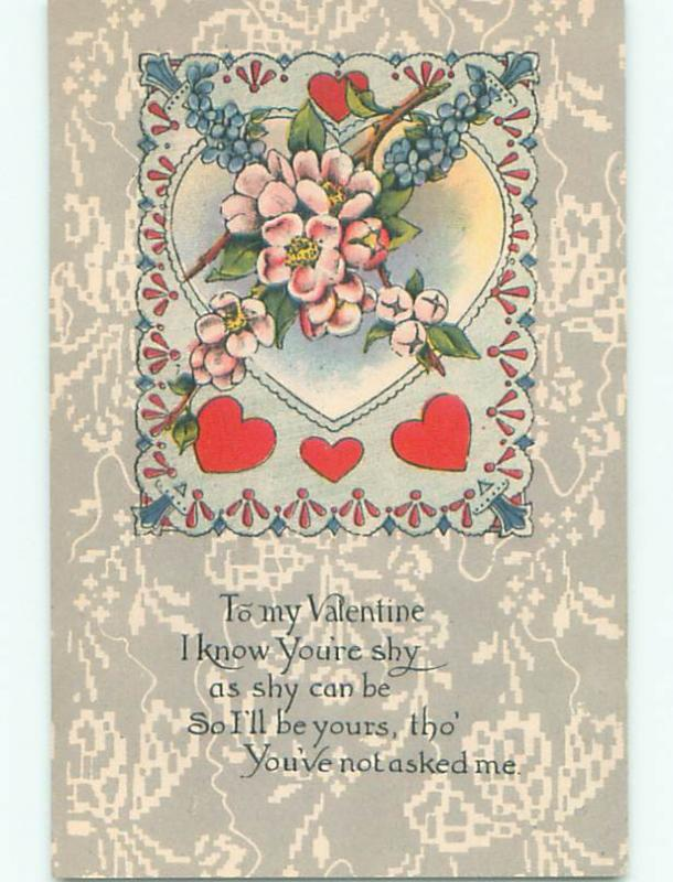 Pre-Linen valentine HEART WITH PINK AND FORGET-ME-NOT FLOWERS J0186