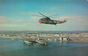 Military U S Navy Helicopter Over Quonset Point Naval Station Quonset Point R...