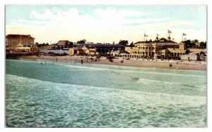 View of Strand, Long Beach, CA Tilton's Trolley Fare Schedule Postcard *4U