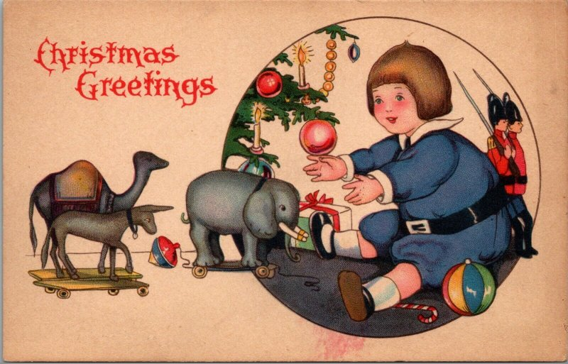 Christmas Greetings - CHILDREN - Toys - GIFTS - VINTAGE - POSTCARD