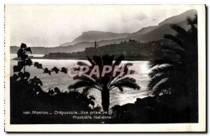 Old Postcard Menton Crepuscule view from the Italian Border