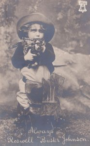 Roswell Buster Johnson as Cowboy Child Film Star Postcard