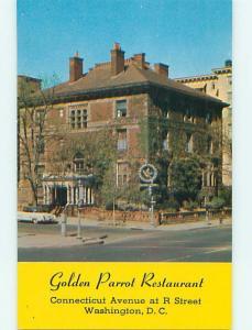 Unused Pre-1980 OLD CARS & GOLDEN PARROT RESTAURANT Washington DC v7571