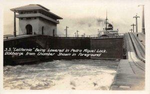 RPPC S.S. California San Pedro Miguel Lock Panama Canal Vintage Photo Postcard